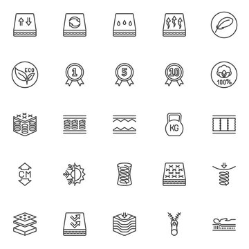 Orthopedic sleep line icons set. linear style symbols collection outline signs pack. vector graphics. Set includes icons as orthopedic mattress layers, breathable, spring, zipper, warranty certificate
