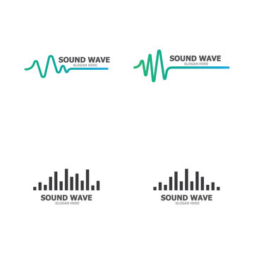 Sound wave logo template vector icons