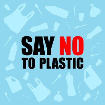 Say no to plastic. Problem plastic pollution. Ecological poster. Banner composed of white plastic waste bag, bottle on blue background.