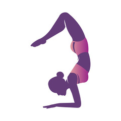 Beautiful woman practicing yoga. Girl do yoga pose of a scorpion. Asana Vrishchikasana. Sports vector illustration with young girl in gradient flat style. Healthy and wellness lifestyle.