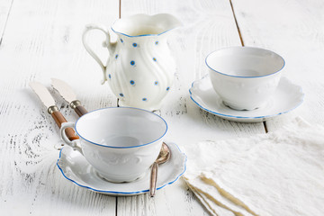 two cups for tea in a beautiful dish