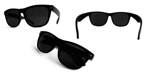 Set of sunglasses bundle pack isolated on white background. Sunglasses in front, back and side view.