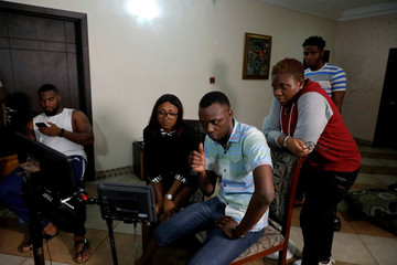 Mary Njoku, Chief Executive Officer of ROK Studios, supervises the set of a ROK's film in Lagos