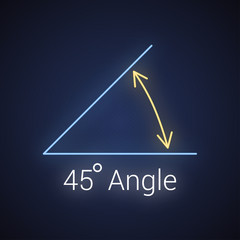 45 degree angle neon icon, isolated icon with angle symbol and text