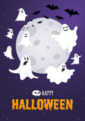 Aluminium Prints Halloween Happy Halloween text postcard banner with ghosts scary face, night sky, moon, flying bats and text happy halloween isolated on dark background flat style design.