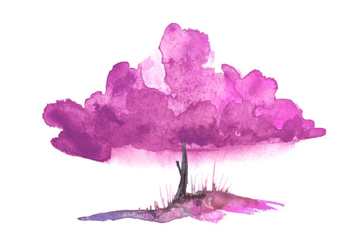 Watercolor tree of pink color on a white isolated background. Single cherry sakura pink tree isolated. Hill, hillock, suburban landscape. Handmade drawing Summer, spring landscape.  Ecological drawing