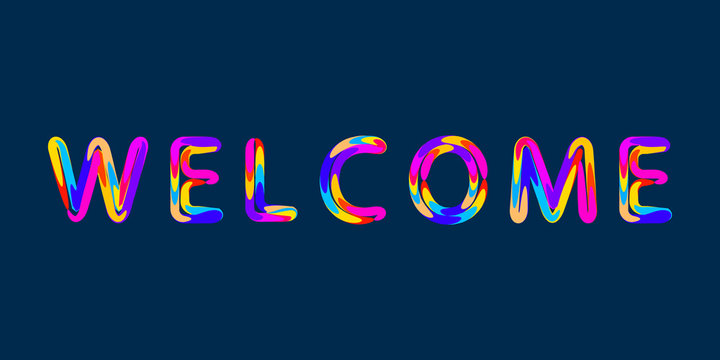 Welcome text banner concept with typography design.