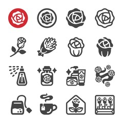 rose flower icon set,vector and illustration