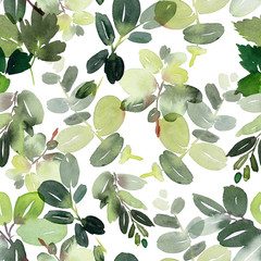 Seamless watercolor pattern with branches on a white background.