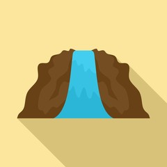 Lanscape waterfall icon. Flat illustration of lanscape waterfall vector icon for web design