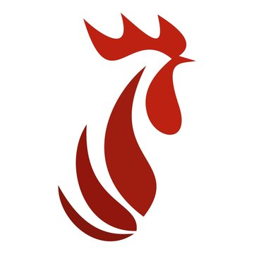 Red rooster head logo. Flat illustration of red rooster head vector logo for web design