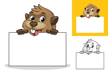 Beaver Holding Blank Board Cartoon Character Mascot Illustration, Including Flat and Line Art Designs, Vector Illustration, in Isolated White Background.