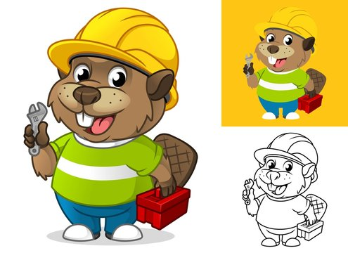 Beaver with Safety Gear Holding Repair Equipment Cartoon Character Mascot Illustration, Including Flat and Line Art Designs, Vector Illustration, in Isolated White Background.
