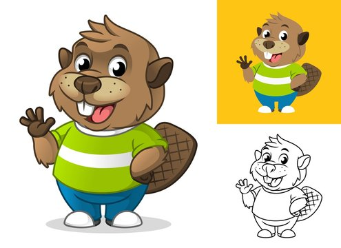Beaver with Waving Hand Gesture Cartoon Character Mascot Illustration, Including Flat and Line Art Designs, Vector Illustration, in Isolated White Background.