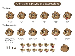 Beaver Cartoon Character Mascot Illustration for Animating Lip Sync and Expressions, Vector Illustration, in Isolated White Background.