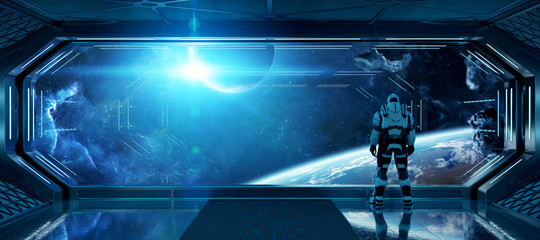 Fototapete - Astronaut in futuristic spaceship watching space through a large window 3d rendering elements of this image furnished by NASA