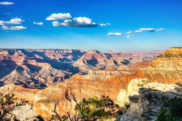 Grand Canyon View from South Rim with Bright Blue Sky at Sunset