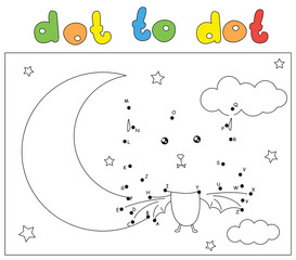 Funny bat in the night sky with the Moon and stars. Coloring book and dot to dot game for kids