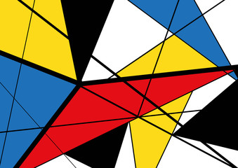 Abstract triangles geometric colorful pattern. Mondrian style.