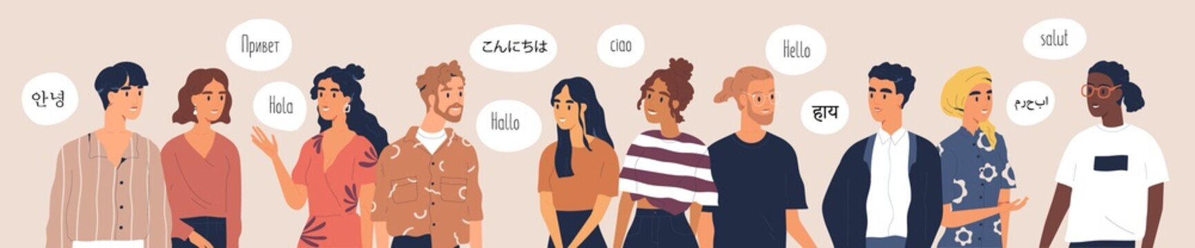 Multilingual greeting flat vector illustration. Hello in different languages. Diverse cultures, international communication concept. Native speakers, friendly men and women cartoon characters.
