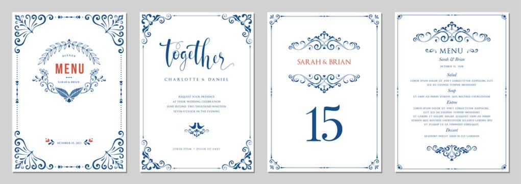Ornate wedding invitation, menu, table number.