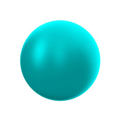 3d cyan metallic sphere in studio environment,   on white background 3d illustration