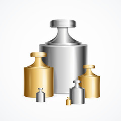 Realistic Detailed 3d Calibration Weight Laboratory Set Different Size. Vector