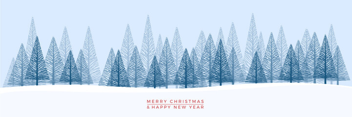 Fotorolgordijn Blauwe hemel Christmas. Abstract vector illustration. Winter landscape background.