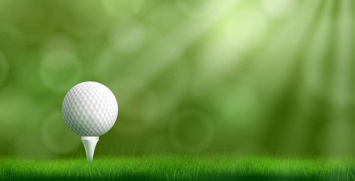Golf ball resting on tee pushed into ground, cowered thick lawn grass, blurred with bokeh sunbeams on background 3d realistic vector illustration. Golf tournament ad banner template with copyspace