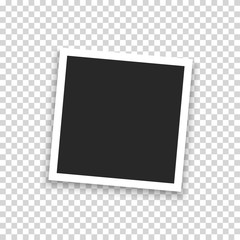Realistic photo frame isolated on transparent background. Vector illustration.