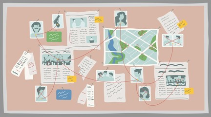 Crime research board flat vector illustration. Crime investigation, mystery solving concept. Police department, detective workspace accessory. Newspaper clippings, photos and map connected with thread