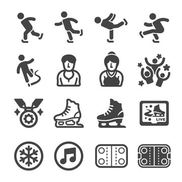 ice skate sport and recreation icon set,vector and illustration
