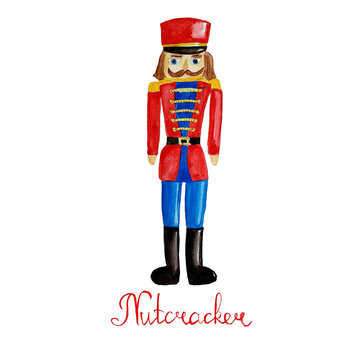 Watercolor hand drawn wooden toy soldier - nutcracker