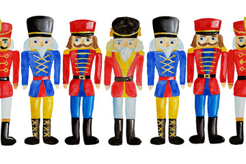 Seamless pattern with watercolor hand drawn wooden toy soldier - nutcracker