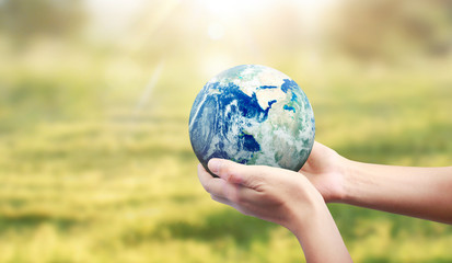 Globe ,earth in human hand. Earth image provided by Nasa