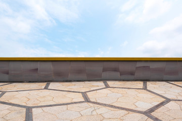 Brick pattern on floor and wall with blue sky with cloud. Retro and vintage wallpaper. Backdrop for design art work. Picture for add text message.