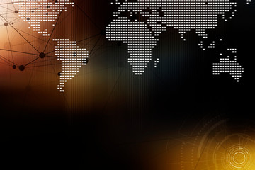 Future modern global network connection technology concept background, connecting lines and dots with digital world map on dark background.