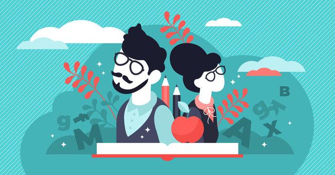 Teachers day vector illustration. Flat tiny world educators persons concept