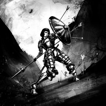 A female knight raising her shield to ward off arrows. 2D Illustration.