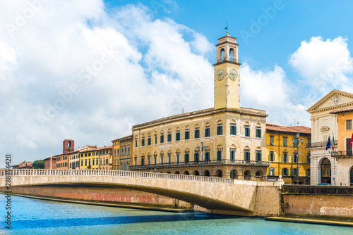 Wall mural Landscape with Pisa old town and Arno river, Tuscany, Italy