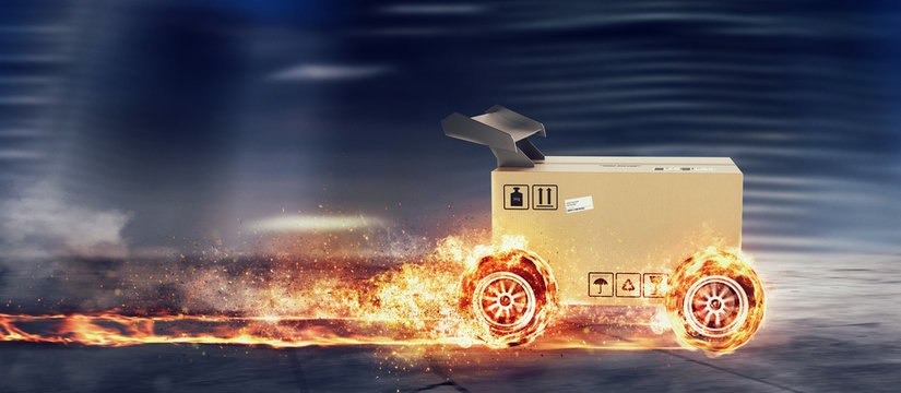 Priority Cardboard box with racing wheels on fire. Fast shipping by road.