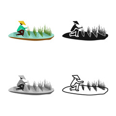 Isolated object of rice and field logo. Set of rice and water vector icon for stock.