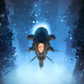 Cruising the suburbs / 3D illustration of science fiction heavy armoured battle cruiser spaceship flying through futuristic city