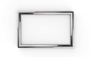 3d illustration of a silver picture frame on white background