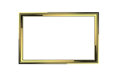 3d illustration of golden picture frame isolated on white background