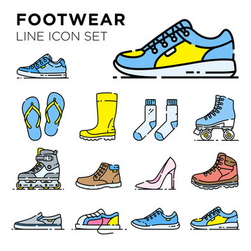 Footwear line icon set. Shoe vector collection. Mens and ladies casual, fashion and sport footgear symbol illustrations.