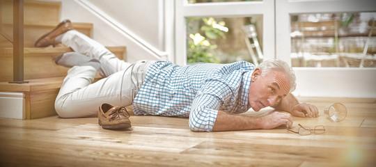 Senior man fallen down from stairs