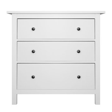 House furniture - Modern white small commode isolated