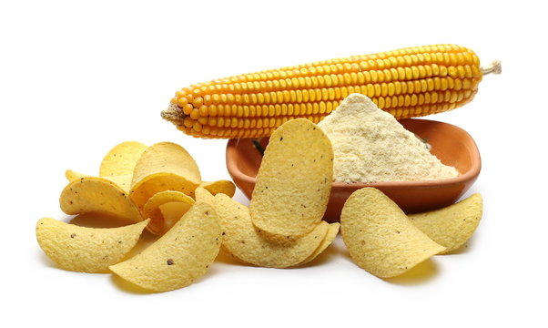 Corn tortilla chips with corn flour in clay pot, bowl and maize cob isolated on white background