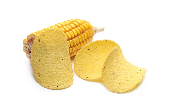 Corn tortilla chips with maize cob isolated on white background